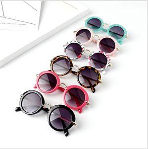 Crianças retrô Sun Shades infantil óculos óculos óculos de sol meninos meninas crianças redondas óculos de sol óculos 6 cor