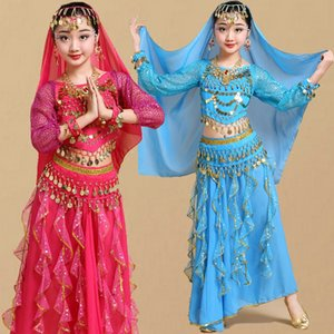 Children Girl Belly Dance Costumes Kids Belly Dancing Girls Bollywood  Performance Cloth Set Handmade Girl India Clothes