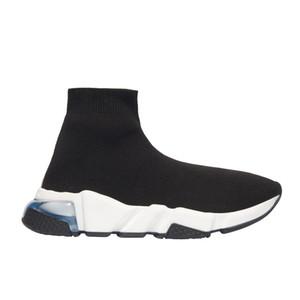 2020 Sneakers velocidade Clearsole Preto Jacquard Knit Branco Preto Graffiti Sole Plano Sock Botas Casual Shoes Speed Trainer Runner