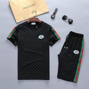 Летние модные спортивные костюмы с коротким рукавом, Мужские спортивные костюмы для отдыха мужчины роскошный дизайнерский бренд 1G guci Sport suit 1G e