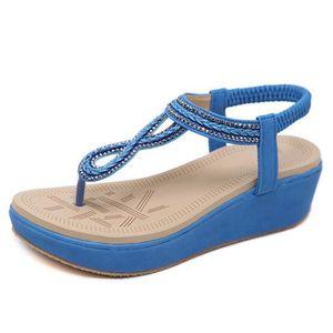 2019 Nuevo Soft Bottom Comfort Summe Flip Flop Sandalias de mujer Cuñas de fondo grueso Sandalias Zapatos de diamantes de imitación Sandalias de moda para mujer