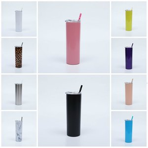 20oz stainless steel double-layer heat preservation cup vacuum inner straight body Cup Fitness portable water cup with color straw T3I5772