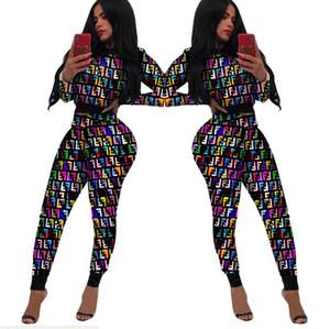 Mujeres Ropa FF impresos 2 piezas Conjunto cosecha corta Top Tee + vestido corto de la falda del verano del juego Set de Bodycon del club Trajes tela de estiramiento fend1