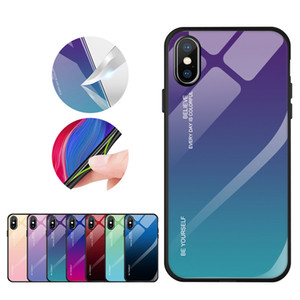 Gradient Color Tempered Glass Phone Case With Soft TPU Edge For iPhone 11 XS MAX XR Huawei Mate 20 P Smart Samsung S8 S9 S10 J7 Prime J8
