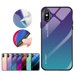 Funda de teléfono de vidrio templado de color degradado con borde de TPU suave para iPhone 11 XS MAX XR Huawei Mate 20 P Smart Samsung S8 S9 S10 J7 Prime J8