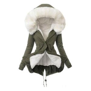 Женщины Зима теплая искусственного меха с капюшоном с длинным рукавом пальто Slim Fit сгущает Outwear новый