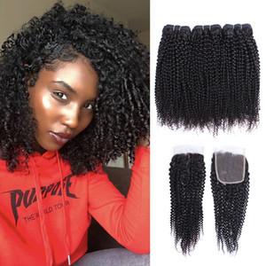 Afro verworren Gelockt Bündel mit Closure brasilianischer Virgin Hair 3 Bundles mit 4x4-Spitze-Schliessen 10-28 Zoll Remy Menschenhaar-Verlängerungen
