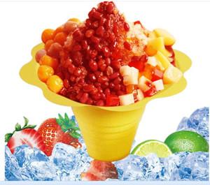 1000pcs / lot de crème glacée en plastique jetable Parfait sundae tasse Fleur forme tasses bols
