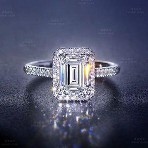 1CT Tamaño 5-12 joyería chispeante de lujo real Topaz blanco CZ Diamante Eternidad mujeres del regalo de boda anillo de la venda 925 princesa Cut Plata