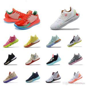 إمرأة جديد kyrie منخفضة 2 أحذية كرة السلة الإسفنج Krabs الأبيض الأحمر ساندي خدود الشباب والأطفال kyries ايرفينغ 5S lebrons أحذية رياضية الأحذية مع مربع 5 12