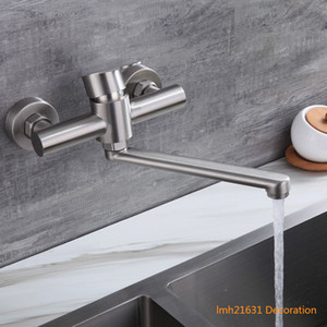 Stainless Steel Wall Mounted Basin Faucets Hot and Cold Bathroom Water Taps Mop Pool Garden Hand Washing Kitchen Mixer Vintage Brush Nickel