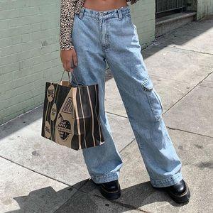 Womens Jeans Pockets Patchwork alta Jeans cintura Mulheres Streetwear Hetero Pants Jean Femme algodão azul Carga