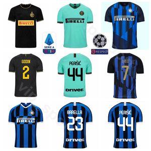 Futebol Milão 2020 Inter Homens 77 Brozović Jersey 2 GODIN 12 SENSI 8 VECINO 24 Barella 44 Perisic 37 SKRINIAR Futebol shirt Kits