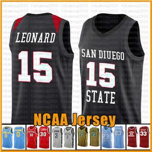 Uomo 15 Kawhi San Diego State Aztecs Università Leonard NCAA Università pallacanestro Jersey 23 James 2 Leonard 3 Wade 11 Irving 30 Curry