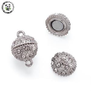 En gros 20 ensembles alliage strass fermoirs magnétiques ronds résultats de bijoux en métal de platine pour la fabrication de bijoux de bricolage faisant 19x12mm trou 2mm