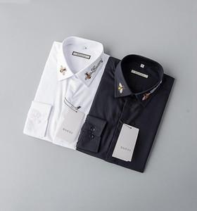 Mens Camisas de lujo Abejas Moda bordado largas del vestido de la manga camisas marca clásica Turn Down cuello de negocios Tops130