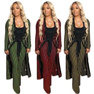 2020 New Autumn Winter Women stripes print X-long coat straight pants suit two piece set vintage fashion tracksuit outfit GL3815
