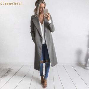 ChamsGend зимы женщин длинные пальто отворотом Parka куртки Кардиган Шинель Outwear Master Designer