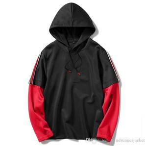 Fake Two Piece Mens Designer Hoodie Fashion Contrast Color Long Sleeve Drawstring Loose Hoodies Casual Teenagers Hoodie