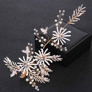 Trendy Gold Handmade Flower Pearl Hair Pins for Wedding Hair Accessories Bridal Headpiece Women tiara Hair Jewelry