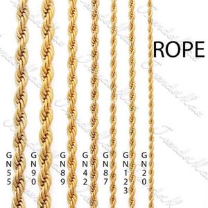 24 كيلو الذهب اللون شغل الذهب مطلي قلادة طويلة سلسلة حبل كلاسيكي رجل إمرأة سلسلة هدية مجوهرات 3 4 5 6 ملليمتر
