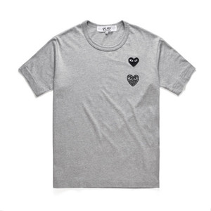 2019 Hommes C-D-G Double Play Red Heart T-shirts 100% coton High Street Star T-shirt Homme Femme Mode Noir Blanc Gris T-shirt de qualité