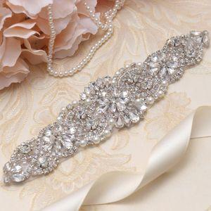 MissRDress Perle Cintura da sposa Strass Cintura abiti da sposa cinture Argento Cristallo Cintura da sposa per abito da sposa YS837