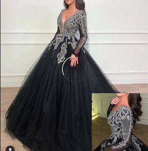 vestido importante que rebordea la línea promdresses Negro musulmanes formal del partido vestidos de noche completa de la mano que rebordea el vestido de manga larga de Dubai Kaftan Prom