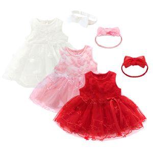2 Pcs roupas de bebê Vestido Crianças Bebê Meninas Tutu Princesa 3 cores Bowknot Mangas Flor Headband Hairband Roupas Roupas