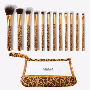 Набор кистей для макияжа Леопардовые кисти с сумкой 12 шт. Основа для макияжа Корректор Пудра Смешивание Румяна Тени для век Косметическая кисточка RRA1956