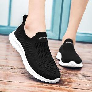 Laceless Net Women Sneakers Socks Women's Running Shoes Woman Sports Shoes Sport Woman Breathable Women Black Tennis D-424