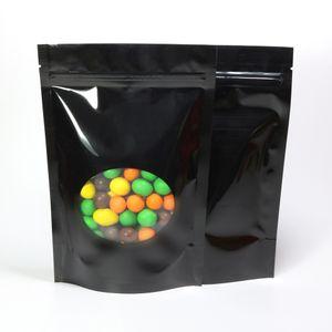 Различные размеры 100PC Glossy Black Сумки Алюминиевая фольга Mylar Пакет с овальным окном, Stand Up Zip Сумки Замок для хранения продуктов