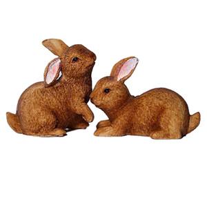1pair rabbits miniature ornament kits for moss outdoor landscape fairy garden house terrarium plant decoration baby play