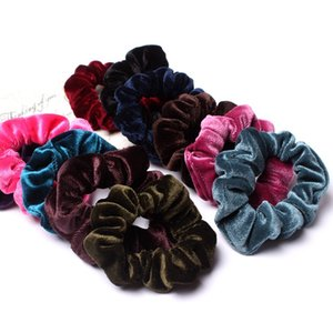 Ponytail de Bandas Scrunchy terciopelo elástico del pelo del pelo de Hairbands Scrunchy Lazos Cuerdas para mujeres o niñas