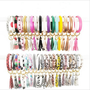 Tassel Pulseiras Keychain PU Chaveiro Couro Ring Girls Wristlet girassol pulseira partido Chaveiro Bracelet Leopard presentes do favor C6829