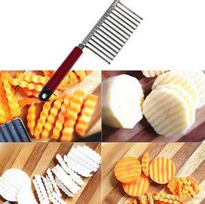 Огурцы из нержавеющей стали Ручной измельчитель Многофункциональный срезанных картофель фри Ripple Волновые Ножи кухонные Cut картофель провода Нож LJJ_OA4631