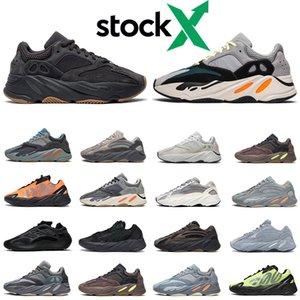 Nouveau kanye west 700 hommes femmes des chaussures de course Wave Runner Azael Alvah carbone bleu utilitaire noir inertie aimant 700 hommes formateur mode sport sneakers