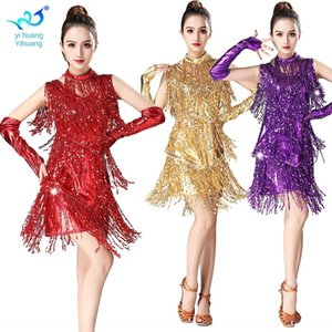 clothes skirt tassel skirt sleeveless sequins tassel Latin dance costume competition suit Latin dance performance suit