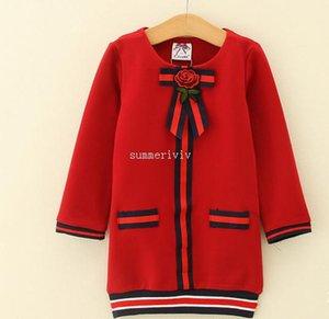 Ragazze di Natale Rose Flower Embroidery Stripe BOWS Tie PRINCESS ABITO Abito Brand Bambini vestiti di alta qualità bambini vestito di cotone P0060