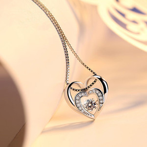 100% 925 Sterling Silver Moving Stone Beautiful Dancing Diamond Dancing CZ Women's Heart Pendant Necklace For Gift
