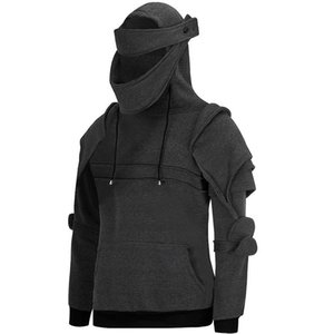 Winter Knight Mens Male Solid Sweatshirts Hooded Color Mens Sleeve Masked Long Casual Thick Tops Hoodies Pullover Fennb