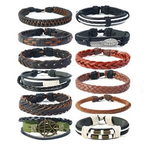 Multicouche Wrap Bracelets En Cuir Véritable De Mode Hommes Manchette Bracelet Réglable Tressé Bracelets pour Femmes Unisexe Vintage Star Charms Bijoux