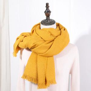 WUBXOLO 2019 la manera del invierno bufanda de la cachemira para las mujeres sólidas de la tela cruzada de Pashmina de las bufandas calientes femeninos 200 * 75cm Chales grandes y Envolturas Rojo SH190924