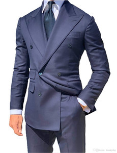 Brand New Azul Marinho Noivo Smoking Homens Trespassado Casamento Smoking Moda Homens Jaqueta Blazer Homens Prom Dinner / Darty Suit (Jacket + Pants + Tie) 6