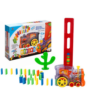 EMT QT6 Creative Domino Domino Automatic Put-in القطارات، مع أضواء الصوت، لعبة تعليمية العلوم، لعبة الوالدين والطفل التفاعلية، هدية عيد الميلاد عيد الميلاد، 2-2