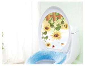 Бабочка подсолнечника ванная комната стикер стены домашнего декора крышка унитаза украшения наклейки на стены водонепроницаемый туалет наклейки Бесплатная доставка