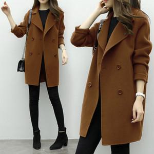 Faroonee New Thin Wool Blend Coat Women Long Sleeve Turn-down Collar Outerwear Jacket Casual Autumn Winter Elegant Overcoat