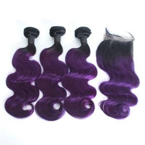 레이스 정면 마감을 가진 Ombre 몸 파 사람의 모발 뭉치 1B / 27 1B / 30 1B / Purple 1B / 99J Ombre Hair with Closure