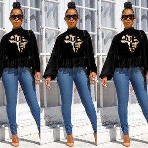 Lockere Top Famale Designer Lässige Kleidung Frauen Laterne-Hülsen-Pullover mit Stehkragen T-Shirt Art und Weise Waist Hot Stamping