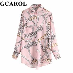 GCAROL 2019 Primavera Floral Blusa de Impressão Asymmetric Comprimento Casual Longo Camisas Com Um Bolso Streetwear Tops Elegantes